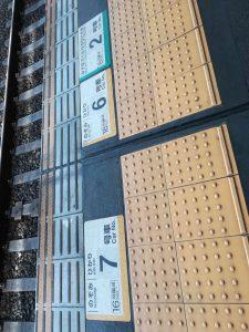 新幹線のホームの番号
